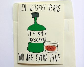 1989 Whiskey Birthday Card Funny Him