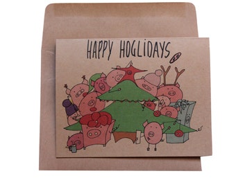 Funny Christmas card  holiday cards funny puns happy holidays cards pig punny Christmas card hoglidays Christmas cards Happy Holidays cards
