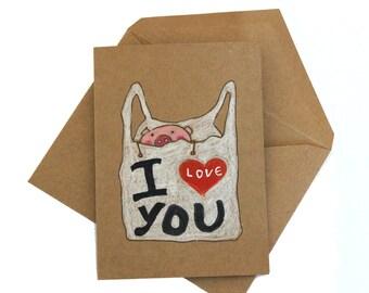Anniversary card boyfriend / i love you anniversary card husband/ love card her/ love card husband/ funny anniversary card pig/ cute pig car