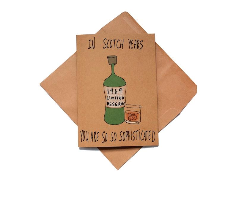 Funny 50th Birthday Scotch Whiskey Card 1969