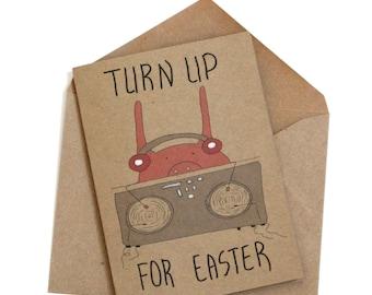 Funny Easter Bunny Card/ hip hop Easter Card/ pop culture Easter card/ pig dj Easter card/ bunny dj Easter card/ Easter cards handmade