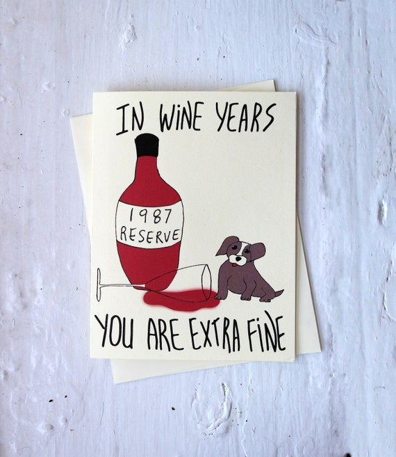 Funny 30th Birthday Card Wine Born In 1989 Dog Card For
