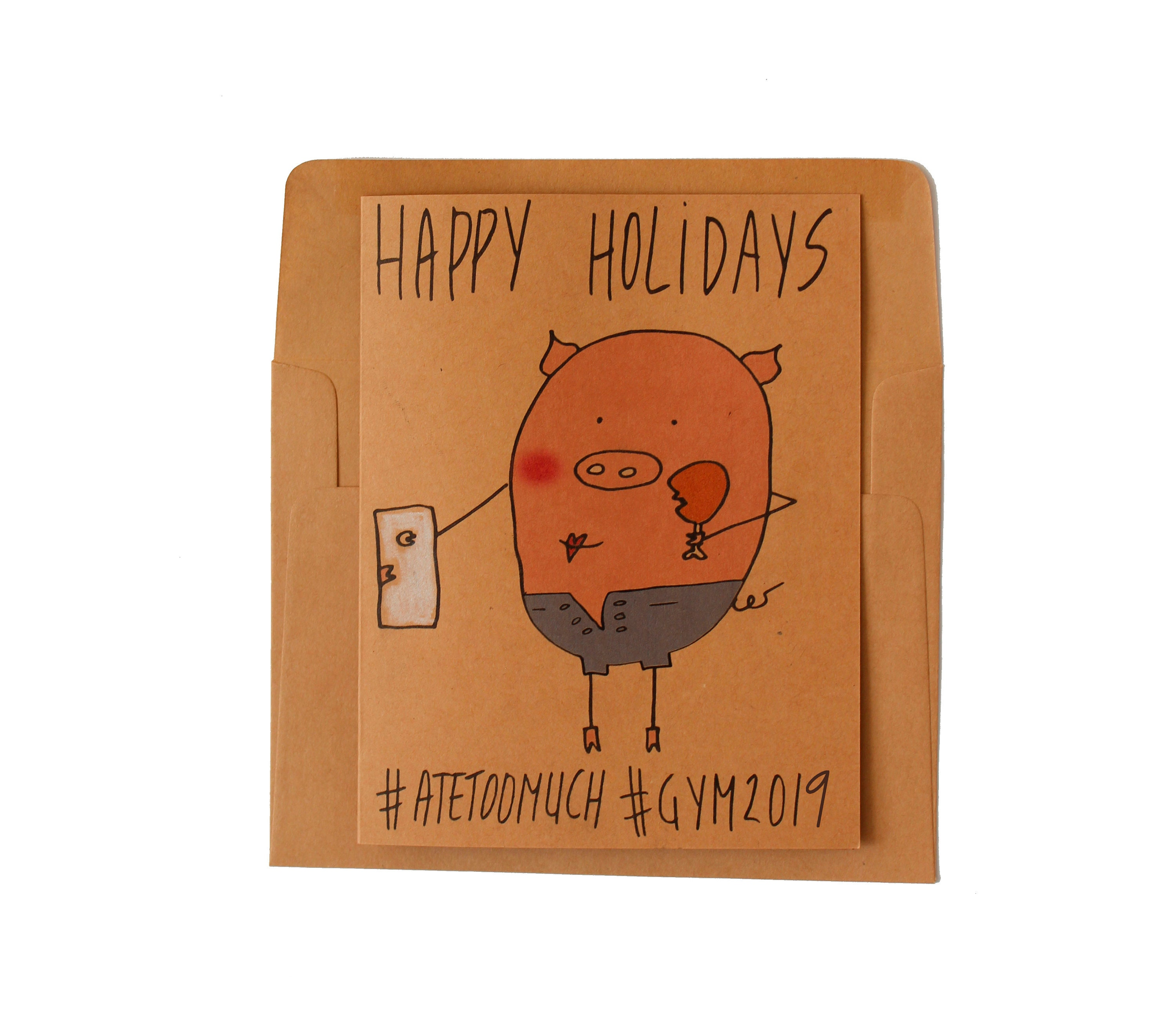 Holiday cards set of 5 Funny Christmas cards pack New years   Etsy