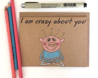 Funny anniversary card girlfriend/ Boyfriend birthday card/ i love you card/ funny birthday card girlfriend/ pig anniversary card/ love card