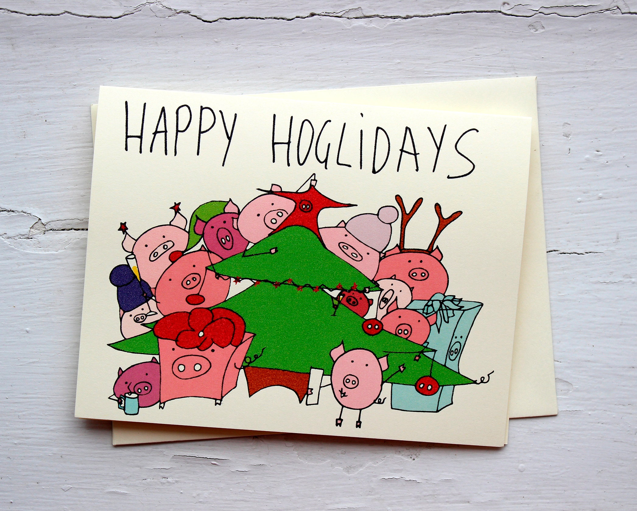 Happy holidays pig pun card funny holiday card with pigs   Etsy