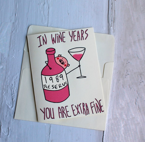 Funny 1989 Birthday Card Gift For Wine Lover 30th