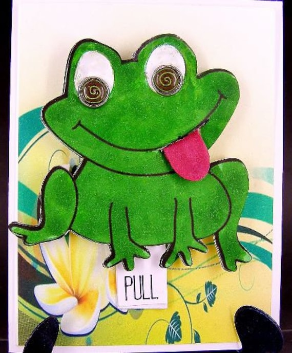 Birthday Card Humorous Interactive Frog Funny Moveable