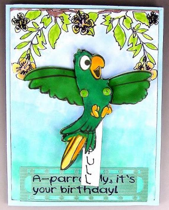 Humorous Birthday Card Interactive Parrot