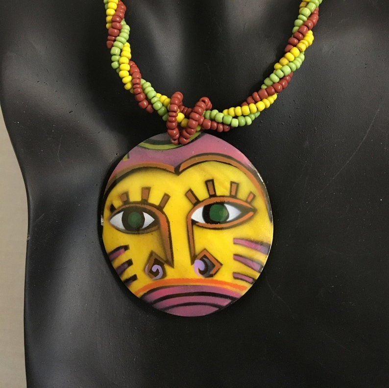 Multicultural Painted Face Mother of Pearl Necklace and Earring SetAztecAfricanTribal