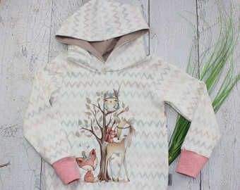Girl Hoodie Forest Animals Picture from French Terry Sweater Hoodie ecru pink