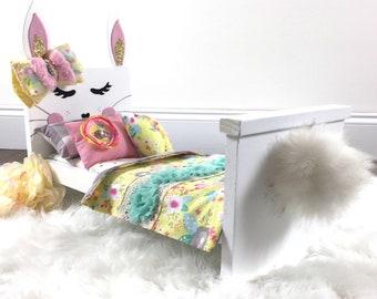 quality design b1167 e6c5e Easter gift, Bunny doll bed, doll bed, wooden doll bed, bunny bed, bunny  doll bedding, doll bedding, animal bed, newborn photo prop, bunny