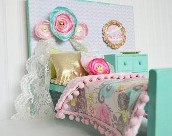 Vintage doll bed set, doll bedding set, doll bed, doll bedding, 18 inch doll bed, wooden doll bed, doll furniture, blythe bed,