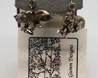 Z734 Judie Gumm Designs Sterling Bear Catching Fish Earrings with Paper.