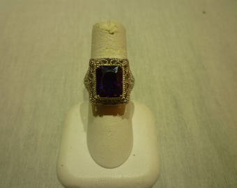K85 Vintage Created Amethyst in a Silver Plated Ring.