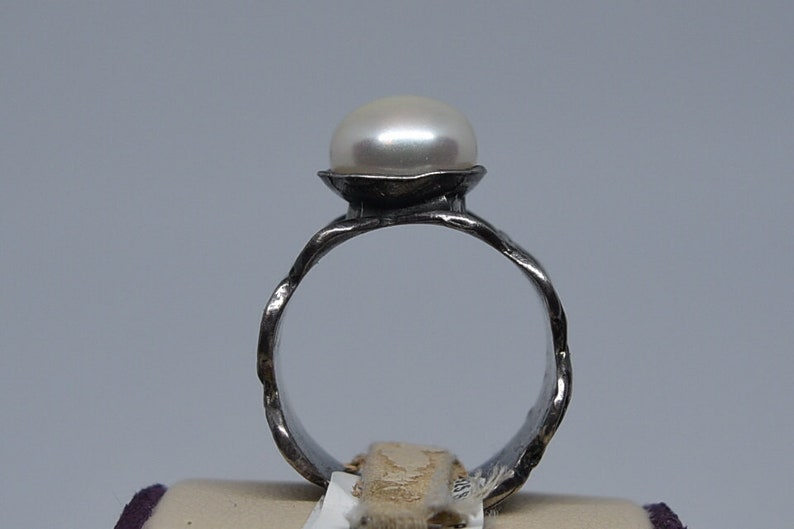 FA239 Vintage Sterling /& Pearl Ring Size 9.25.