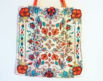 Hummingbird and Hibiscus Large Cotton Canvas Tote Bag | Cotton Tote | Hummingbird Tote| Mandala Tote | Flower Tote | Garden Tote