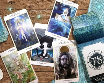 78 Tarot Nautical Tarot of the Water - Deck with Box & LWB | Divination Tool | Oracle Cards | Mermaid Tarot | Water Tarot | Fortune Telling