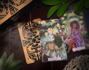 78 Tarot Elemental SET with Cloth & Case - Gilded Edges - Gold Foil Details - Elements, Nature Tarot, Indie Tarot Deck, 78Tarot, Tarot Cards