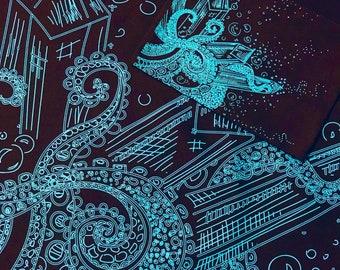 Octopus Crystals Tentacles Tarot Cloth | Spirit Cloth | Altar Cloth | Ocean Cloth | Octopus Cloth | Cthulhu Cloth | Water Cloth