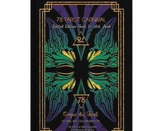 SALE 78 Tarot Carnival BOOK - 261 page, gold foil cover, 78 Tarot Carnival Tarot Art Book - Limited Edition - Indie Publishing - Tarot