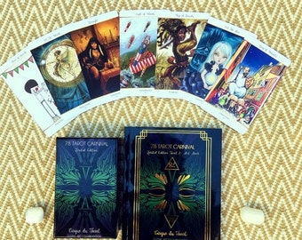 SALE 78 Tarot Carnival SET - Book & Tarot Deck - 261 page book with full page tarot art , gold foil cover,  Indie Deck, Carnival, 78Tarot