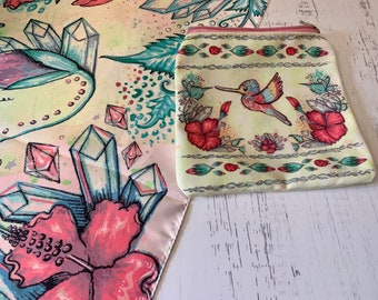 Hummingbird Tarot Cloth - Flower Table Cloth - Altar Cloth - Tablecloth - Garden Witch - Tarot Reader Set - Witch Gift - Spring Altar