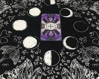 SALE Moth Cloth Tarot Cloth - Luna Moth and Moon Phases - Crystals - Stars - New Age - Tarot Cloth - Illustration - Black and white