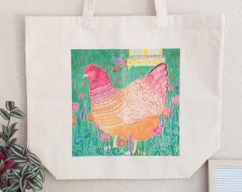Chicken art tote bag