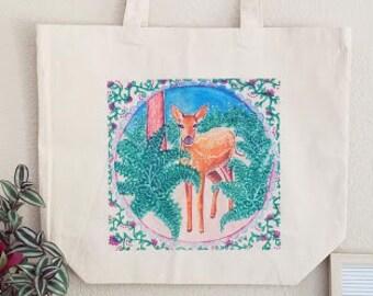 Fawn art tote bag
