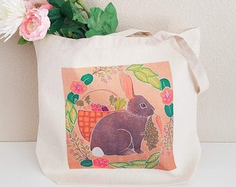 Garden rabbit tote bag