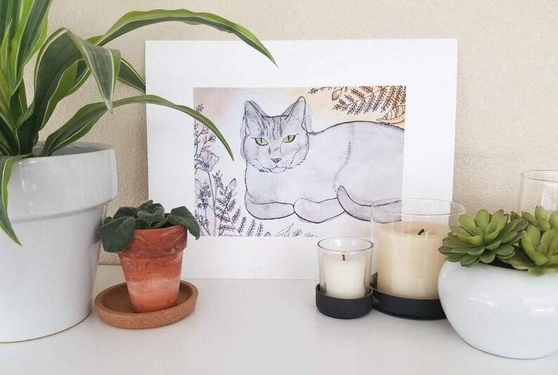 Cat watercolor art print image 0