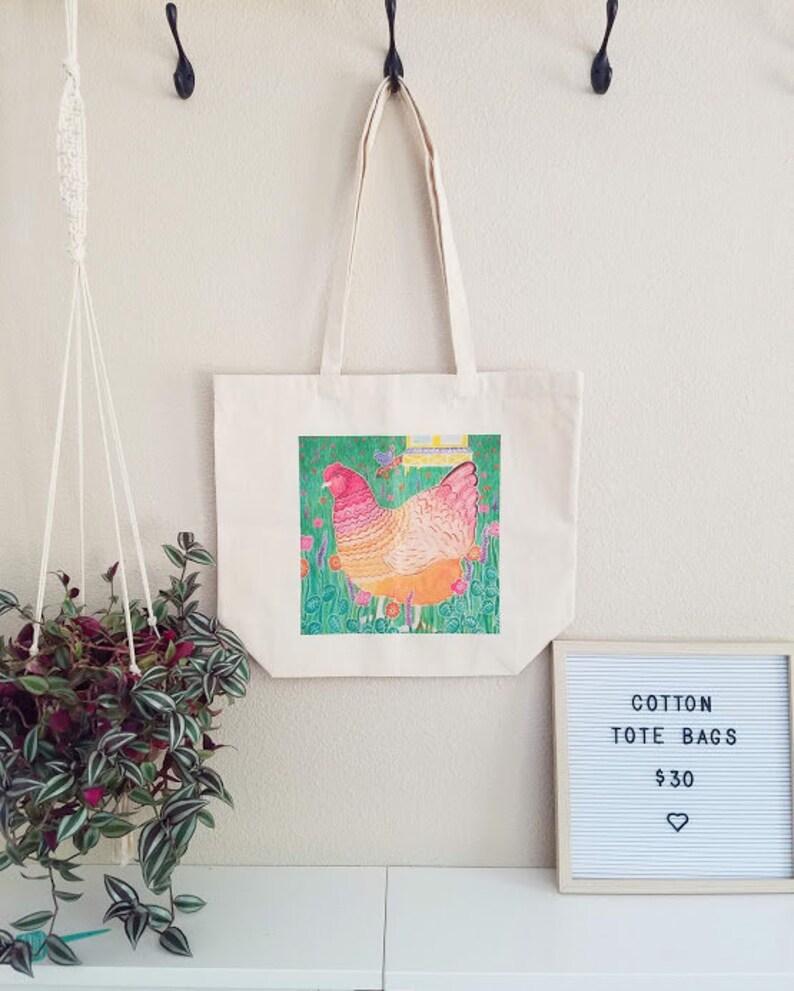 Chicken art tote bag image 1