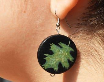 Green leaf earrings Leaf earrings Nature earrings Wood earrings Dangle earrings Nature jewelry Green earrings Black earrings Leaves earrings