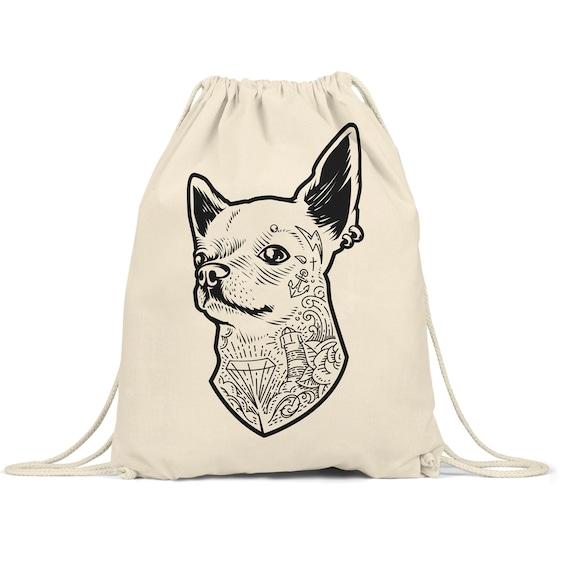 Sac chien Chihuahua chien sac à dos Gymbag coton DrawString sac à dos sérigraphie sérigraphie