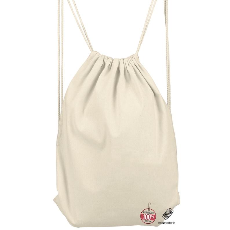 Gym bag natural Drawstring backpack Gymbag Cotton Gymsack