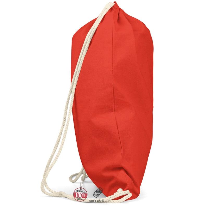 Gym bag red Drawstring backpack Gymbag Cotton Gymsack