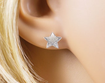 Studs stars concave 925 silver