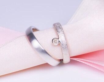 Wedding rings in 925 silver with champagne Swarovski gemstones