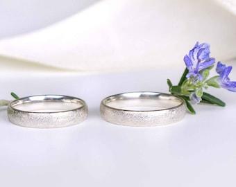 Wedding rings 333/8k white gold ice matted