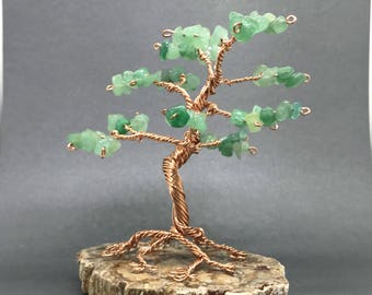 Bonsai wire tree sculpture, gemstone tree, aventurine tree, wire wrap tree, miniature tree, wire tree of life, miniature gift for aries