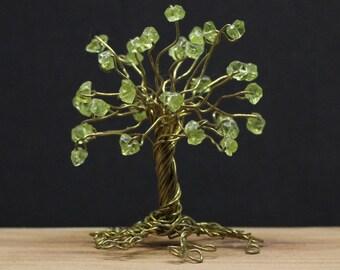 Wire tree sculpture, gemstone tree, peridot tree, wire wrap tree, miniature tree, wire tree of life, peridot birthstone gift, miniature gift