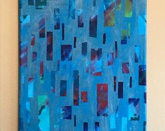 "Colorful Rain - 11"" x 14"" Acrylic Painting on Canvas"