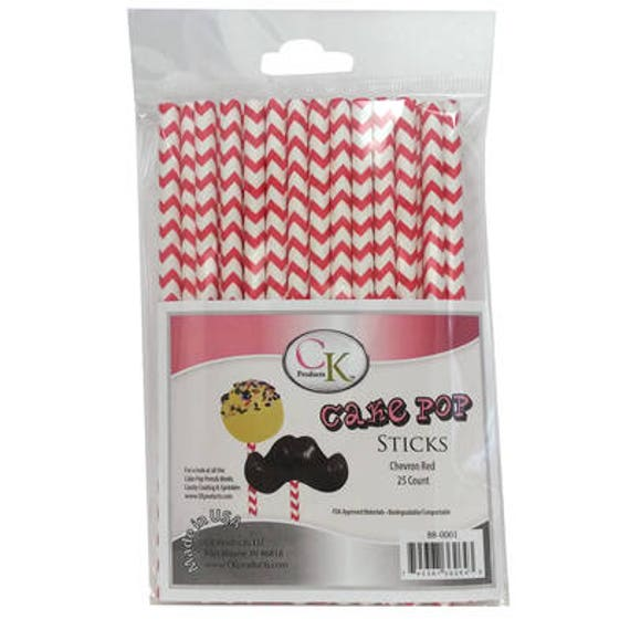 RED CHEVRON Cake Pop Sticks