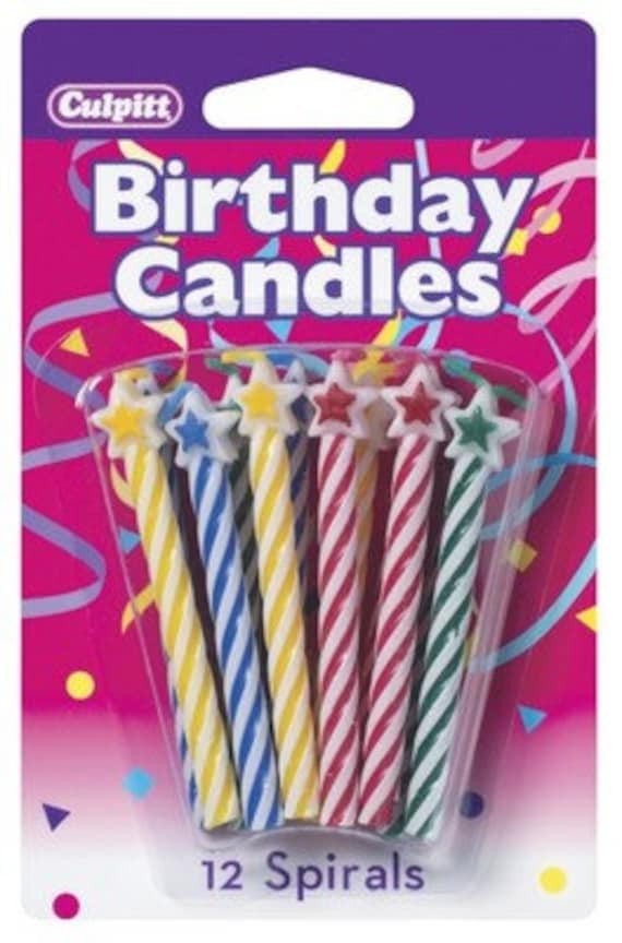 STAR Spiral Birthday Candles 12 PACK