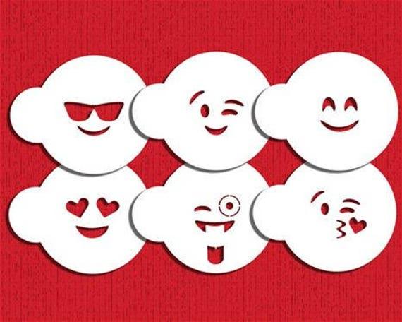 """EMOJI'S  Cookie Stencil  Set """"Designer Stencils"""""""
