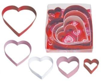 HEART 5 Piece Color Cookie Cutter Set