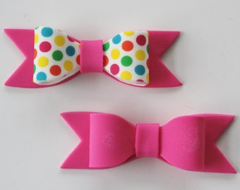 Gum Paste MINI BOWS - Pink/Polka Dot