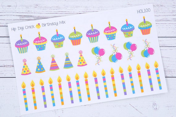 Enlightening Minds 24 Birthday Party Stickers Cake Candles Balloons