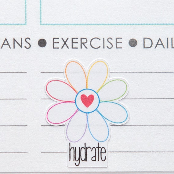 hydrate flower planner stickers daily water tracker fhb010 etsy