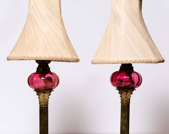 Pair of Vintage Brass Corinthian Column lamps